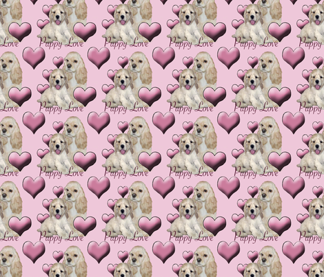 Cocker Spaniel Puppy Love fabric by dogdaze_ on Spoonflower - custom fabric