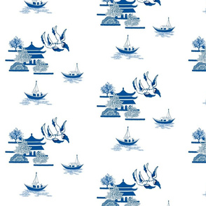 Willow-esque Swallows & Boats Tile- Blue