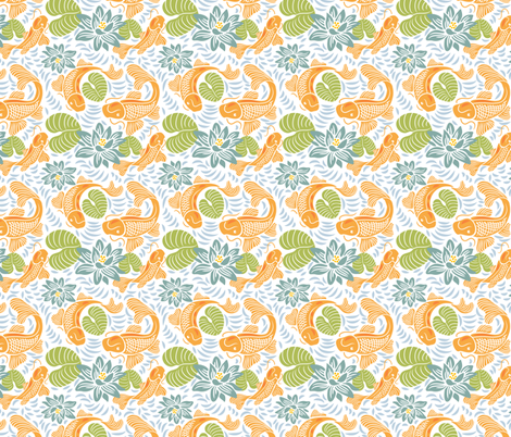 Oh Koi! Collection - Fish Pond fabric by dianne_annelli on Spoonflower - custom fabric