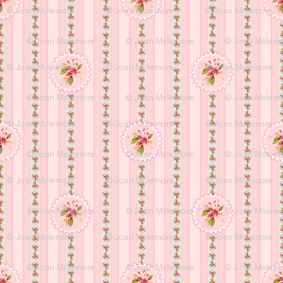 Parson's Pink Rose Medallion and Stripe