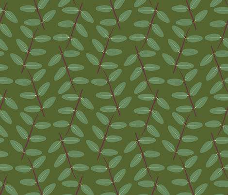 Hypericum Hidcote twig zigzag - dark green (Coordinate for Buttercups on a bush) fabric by victorialasher on Spoonflower - custom fabric