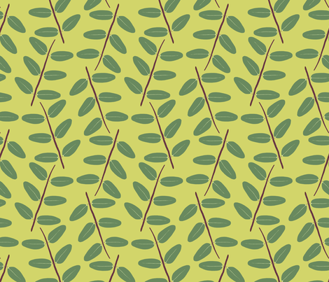 Hypericum Hidcote twig zigzag - light green (Coordinate for Buttercups on a bush) fabric by victorialasher on Spoonflower - custom fabric
