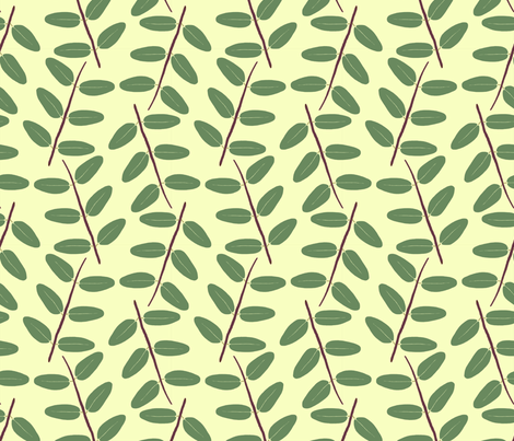 Hypericum Hidcote twig zigzag - light yellow (Coordinate for Buttercups on a bush) fabric by victorialasher on Spoonflower - custom fabric