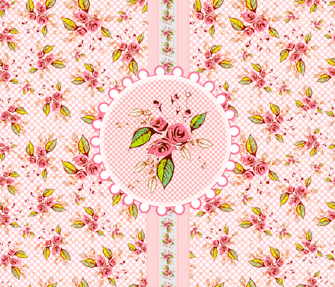 Parson's Pink Rose Medallion Fat Quarter fabric by joanmclemore on Spoonflower - custom fabric