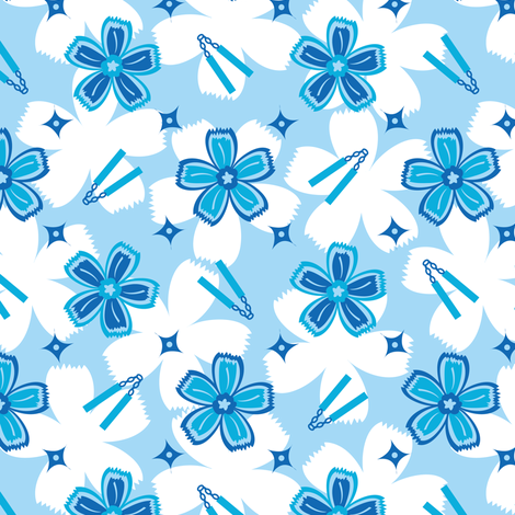Super Blue Nunchucks! fabric by robyriker on Spoonflower - custom fabric