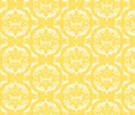 Bright Sunny Yellow Floral Damask fabric by cksstudio80 on Spoonflower - custom fabric