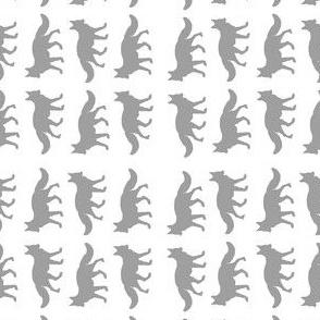 fox in gray long print