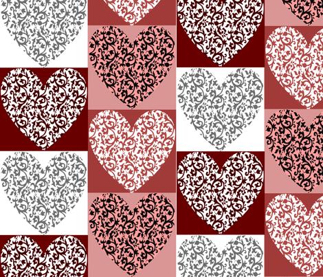 Damask Heart 005 fabric by lowa84 on Spoonflower - custom fabric