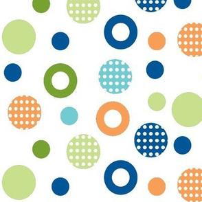 polka-dot-circles School of fish coord orange,blues-n-greens