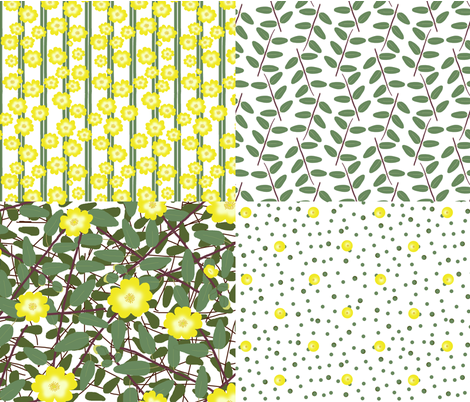 Buttercups on a bush (Hypericum Hidcote) FQ collection - white fabric by victorialasher on Spoonflower - custom fabric