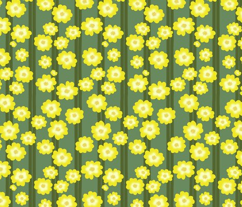Rbuttercup_bush_double_stripe_scattered_flowers_repeat_green_on_green_shop_preview