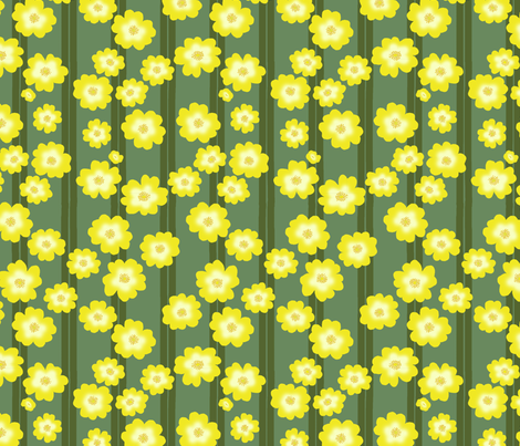 Hypericum Hidcotedouble stripe and flowers - green on green (Coordinate for Buttercups on a bush) fabric by victorialasher on Spoonflower - custom fabric