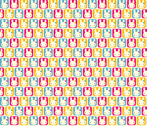 Kawaii Bunny Squares fabric by marcelinesmith on Spoonflower - custom fabric