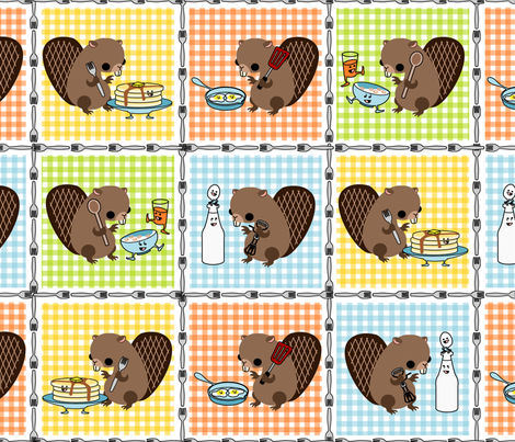Kitchen Beaver Coordinates fabric by thirdhalfstudios on Spoonflower - custom fabric
