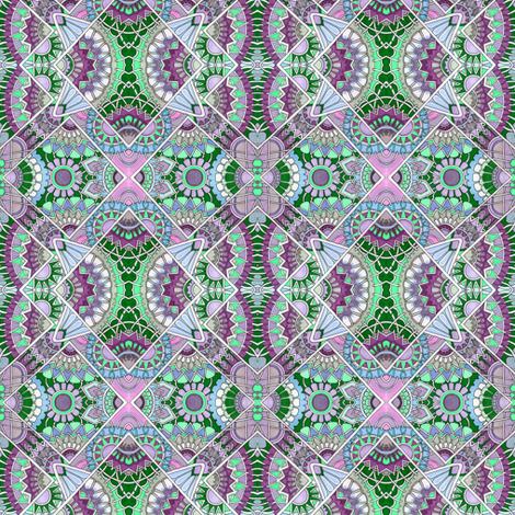 Fans of Japan (violet and greenl) fabric by edsel2084 on Spoonflower - custom fabric