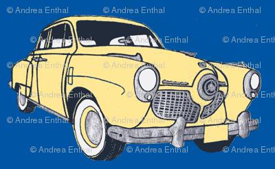 1951 bulletnose Studebaker  (cream on navy background)