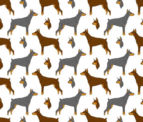 Dobermans - white fabric by rusticcorgi on Spoonflower - custom fabric
