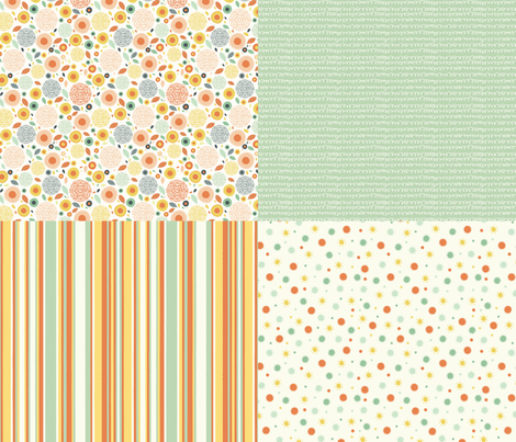 Flo (Peachy) - Co-ordinates fabric by mondaland on Spoonflower - custom fabric