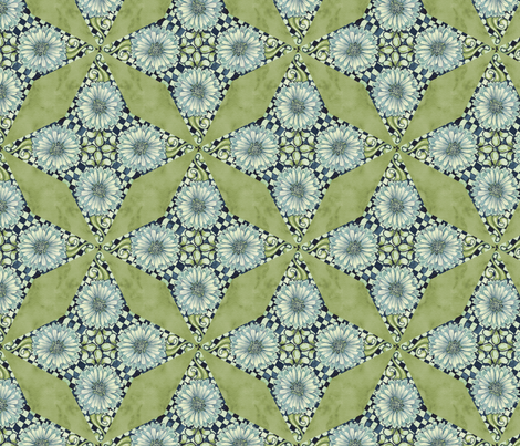 Antique Nouveau Floral - Four Point Geometric fabric by nicoletamarin on Spoonflower - custom fabric