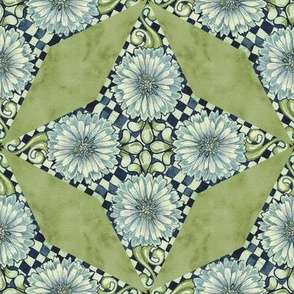Antique Nouveau Floral - Four Point Geometric