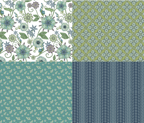 Antique Nouveau Floral Sampler fabric by nicoletamarin on Spoonflower - custom fabric