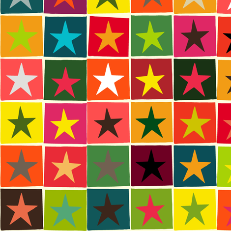 christmas boxed stars fabric by scrummy on Spoonflower - custom fabric