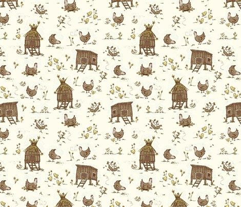 Chicken_Conversational1 fabric by stacyiesthsu on Spoonflower - custom fabric