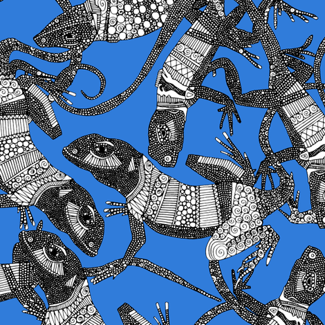 just lizards blue fabric by scrummy on Spoonflower - custom fabric