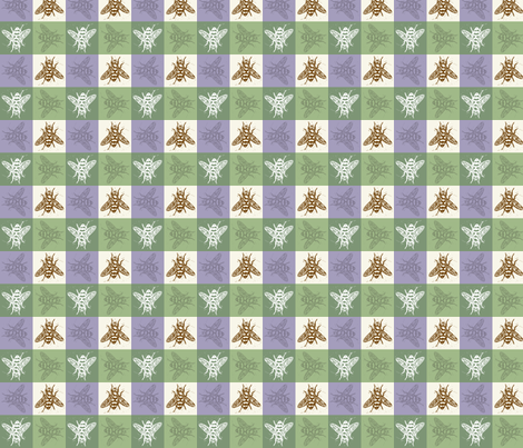 Busy Bee Gingham - Lavender and Sage - Brown Bees fabric by jenithea on Spoonflower - custom fabric