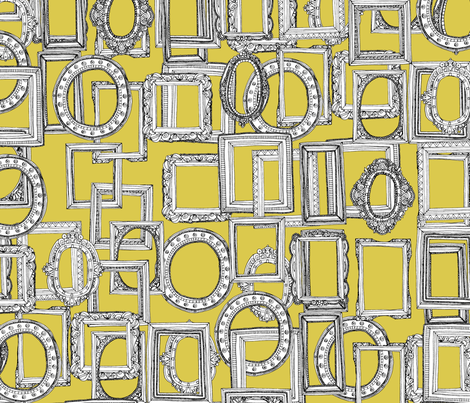 picture frames aplenty yellow fabric by scrummy on Spoonflower - custom fabric