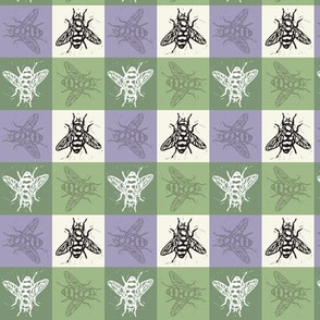 Busy Bee Gingham - Lavender and Sage - Black Bees