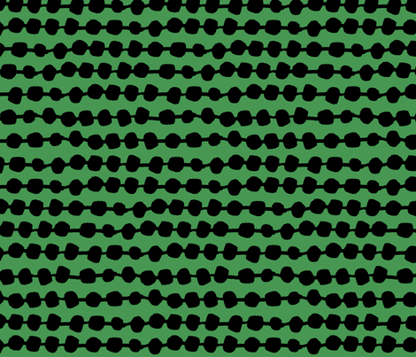 Rows of Dots - Kelly Green/Black by Andrea Lauren fabric by andrea_lauren on Spoonflower - custom fabric