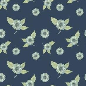 Antique Nouveau Floral - Floral Toss, Navy