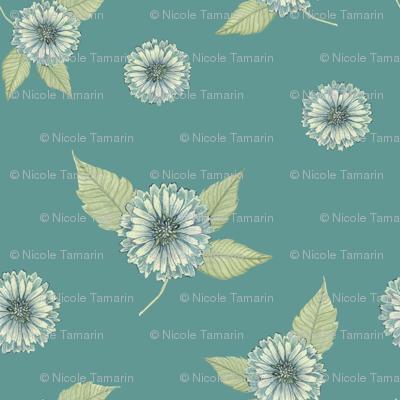 Antique Nouveau Floral - Floral Toss, Teal