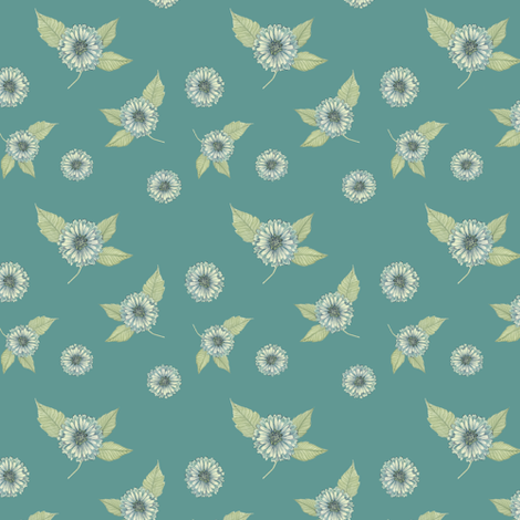 Antique Nouveau Floral - Floral Toss, Teal fabric by nicoletamarin on Spoonflower - custom fabric