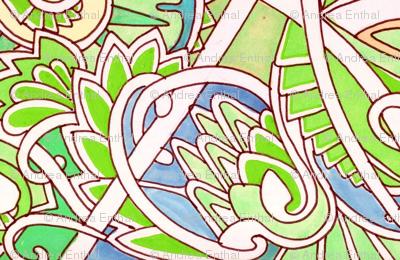 Zig Zag Key Lime Vertical Stripe