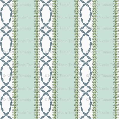 Antique Nouveau Floral - Nouveau Stripe