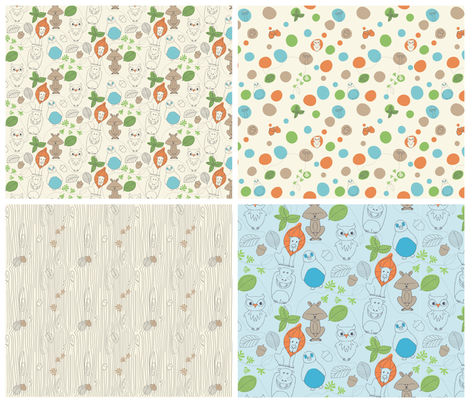 Critter novelty 4up fabric by locamode on Spoonflower - custom fabric