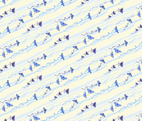 moth moon stripes small fabric by coggon_(roz_robinson) on Spoonflower - custom fabric