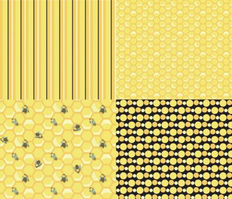 Vintage-Bee-Quarters (coordinates) fabric by nightgarden on Spoonflower - custom fabric