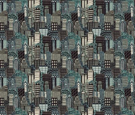 Biro City at Night fabric by teja_jamilla on Spoonflower - custom fabric