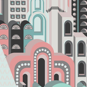 Deco Metropolis Large Scale Pastel Peach Sea Green