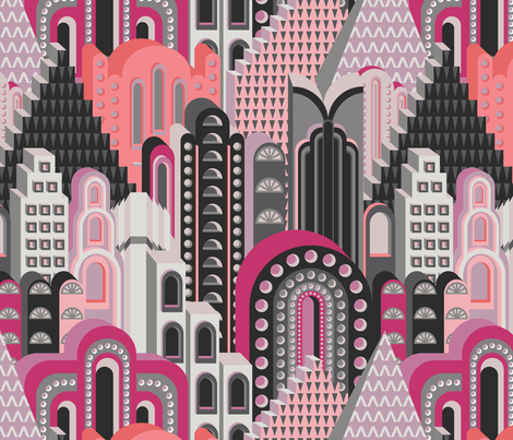 Deco Metropolis Large Scale Pink Peach Lilac fabric by teja_jamilla on Spoonflower - custom fabric