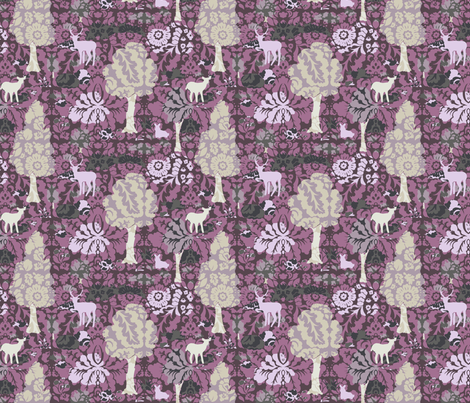 Collage Forest Damask fabric by teja_jamilla on Spoonflower - custom fabric