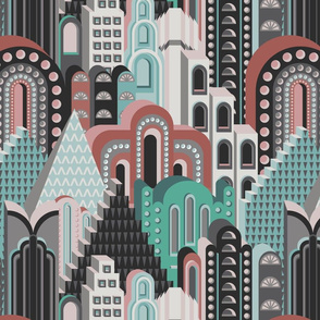Deco Metropolis Medium Scale Coral + Sea Green