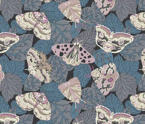 Leafy Moths  fabric by teja_jamilla on Spoonflower - custom fabric