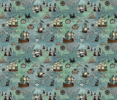 Pirate Ships Map Blue Smallest Repeat fabric by teja_jamilla on Spoonflower - custom fabric