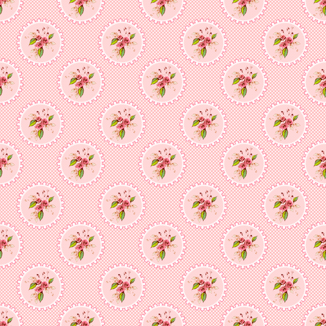 Parson's Pink Rose Medallions and Dots fabric by joanmclemore on Spoonflower - custom fabric