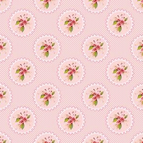 Parson's Pink Rose Medallions and Dots