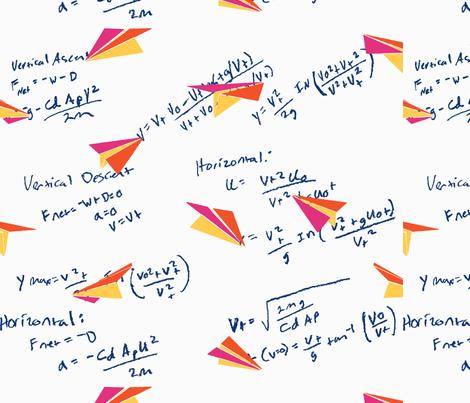Physics of Flight white background, large fabric by muddyfoot on Spoonflower - custom fabric